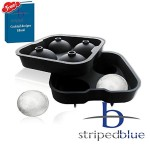 Striped Blue Ice Ball Maker Mold - 4 Whiskey Ice Balls - Premium Round Spheres Tray - Get free EBook